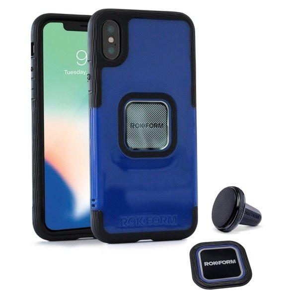 Etui RokForm Socket Case + uchwyt magnetyczny w kratkę wentylacyjną do Apple iPhone X niebieskie